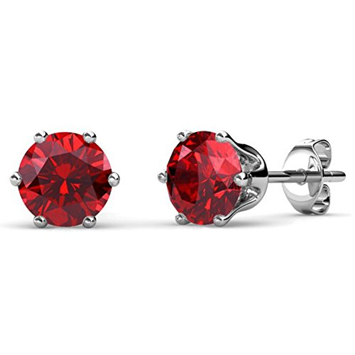Cate & Chloe July Birthstone Stud Earrings, 18k White Gold Plated Earrings with 1ct Ruby Red Gemstone Swarovski Crystals, July Birthstone Jewelry for Women