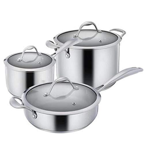 ROYWY Juego de utensilios de cocina de acero inoxidable de 3 piezas, con tapa de vidrio templado, olla, sartén, sartén para leche, adecuado para una variedad de fuentes de calor ollas cocina