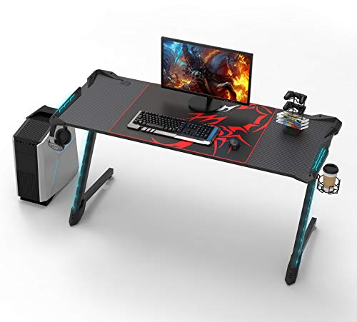 EUREKA ERGONOMIC Gaming Schreibtisch Mit RGB Beleuchtung Gaming Tisch Gamer Tisch 156 * 64...