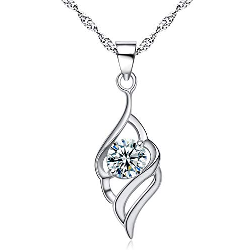 Hanie Damen Halskette & Engelsflügel Anhänger 925 Sterling Silber, mit Weiß Zirkonia & 45cm Silberkette, Liebe Geschenk für Mutter Frau Freundin zum Geburtstag Valentinstag