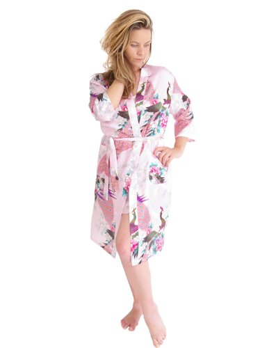 The House of Silk Robe de satin dressing - taille: XL - couleur: rose