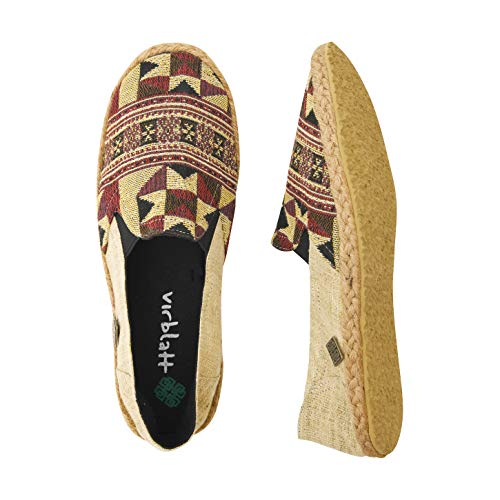 virblatt Comfortable Hemp Espadrilles Men with Ethnic Pattern Hemp Slippers - Passend 45 Beige