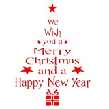 Adesivo albero di natale WINOMO Adesivi per decorazione Vetrofanie Vetrine Finestre Parete natalizi con lettere Rosso