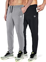 G Gradual Men's Sweatpants with Zipper Pockets Tapered Track Athletic Pants for Men Running, Exercise, Workout (2 Pack: Black/Silver Grey, Large)