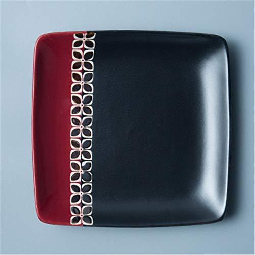 XUSHEN-HU cerámica Las vajillas vajilla vajilla de cerámica europea del vajilla del restaurante occidental plato redondo filete plato pintado a mano Plaza Snack-Placa Ensaladera Soup Bowl Roja de 8 pu