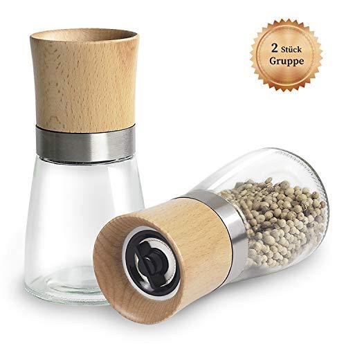 Aikzik pfeffermühle, Gewürzmühle mit Verstellbarem Keramikmahlwerk, salz und Pfeffer mühle, Auch als Moderne Salzmühle Chilimühle, aus Edelstahl, Holz und Glas (2er-Set)