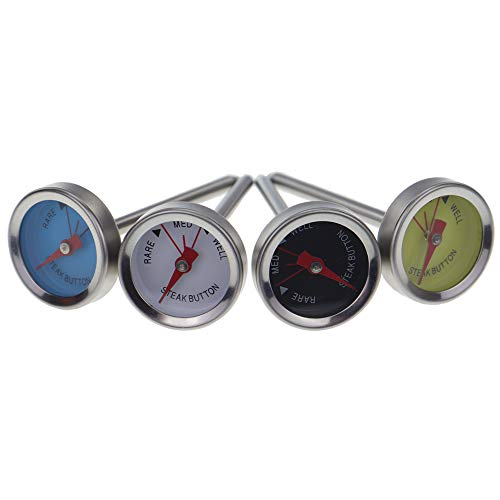 Steak Thermometers Rare Medium Well Done - Pack Of 4 - Cook The Perfect Steak For Your Guests Cooking Grilling