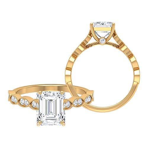 Anillo de compromiso vintage, D-VSSI 2.7 CT solitario, anillo de moissanita, 7 x 9 mm con forma de octágono, anillo de boda antiguo, anillo de novia Art Deco, 14K Oro amarillo, Size:EU 52