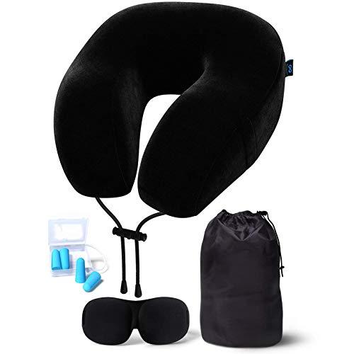 U-A Espuma de Memoria Almohada de Viaje - Incluye antifaces y Tapones para los oídos - Almohada para Cuello de avión (Negro)