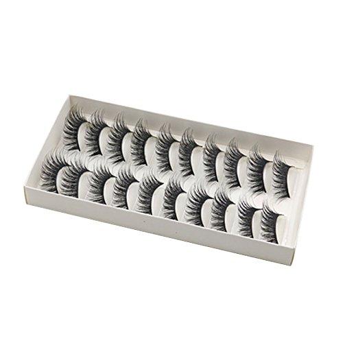 TOOGOO 10 paires Longs faux cils croises Faux cils noirs epais naturels 3D pour maquillage