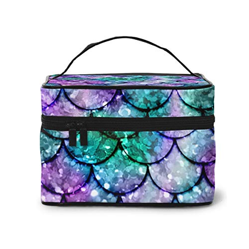 Make-Up Bags Mermaid Pattern2 Large Makeup Portable Travel Cosmetic Bags Professional Train Cases