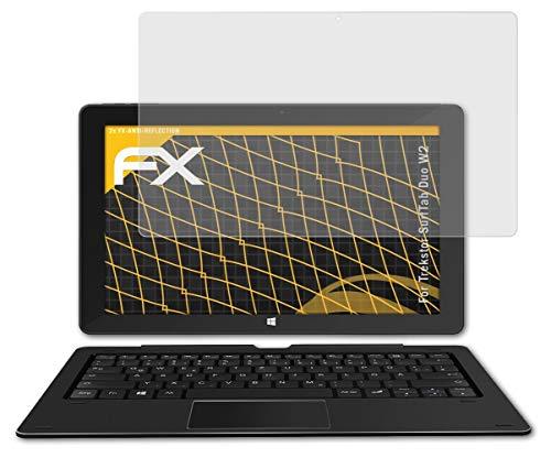 atFolix Panzerfolie kompatibel mit Trekstor SurfTab Duo W2 Schutzfolie, entspiegelnde & stoßdämpfende FX Folie (2X)