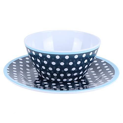 FOLOSAFENAR Hermoso y práctico Juego de Platos de Larga duración para ensaladas, fácil de Limpiar, exquisitos Patrones, para el hogar, para el Restaurante,(Dark Blue Dots)