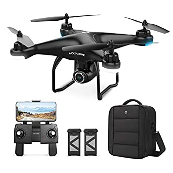 Holy Stone HS120D GPS Drone with Camera for Adults 2K UHD FPV Quadcotper with Auto Return Home Follow Me Altitude Hold Way-points Functions Includes 2 Batteries and Carrying Backpack