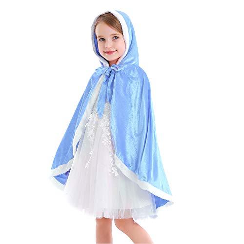 Tyidalin Capa de princesa para nios, nias, disfraz de invierno, para cosplay, fiestas, Halloween, Navidad, Carnaval, con capucha azul 128 cm-134 cm