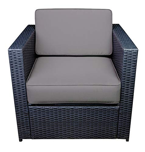 Mcombo Outdoor Patio Black Wicker Furniture Sectional Set All-Weather Resin Rattan Chair Modular Sofas with Water Resistant Cushion Covers 6085 Armrest Chair Gray