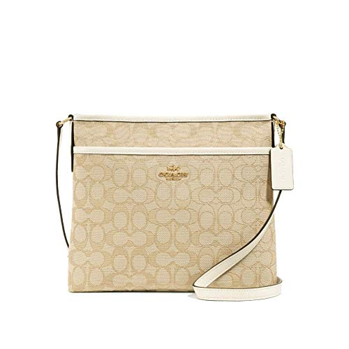 """Signature jacquard with smooth leather details Zip-top closure, fabric lining Outside slip pocket Adjustable strap with 21 3/4"""" drop for shoulder or crossbody wear 10 1/4"""" (L) x 8 3/4"""" (H) x 2"""" (W)"""