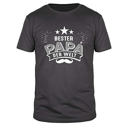FABTEE - Bester Papa der Welt - Moustache - Herren T-Shirt Bio Baumwolle Größen S-3XL, Größe:L, Farbe:Anthrazit