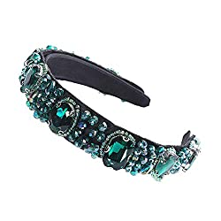 Green Crystal Rhinestone Wide-edge Headband