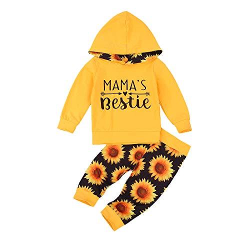 Trainingsanzug für Kleinkinder, Baby, Mädchen, einfarbig, mit Kapuze, Sweatanzug, Pullover, lange Hose, Trainingsanzug, 2-teiliges Outfit-Set Gr. 86, C-Gelb