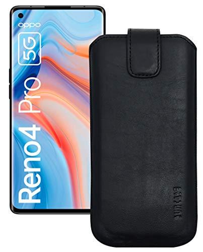 Suncase Etui Tasche kompatibel mit Oppo Reno 4 Pro 5G mit ZUSÄTZLICHER Hülle/Schale/Bumper/Silikon *Lasche mit Rückzugfunktion* Handytasche Ledertasche Schutzhülle Hülle in schwarz
