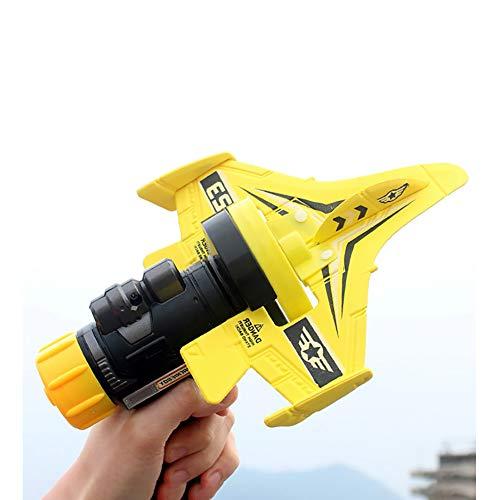 Burbuja De Un Solo Clic Catapult Plano, Modelo De Eyección Lanzando A Mano Slalom Catapult Foam Airplane Niños Al Aire Libre Pistola Lanzador Avión De Deslizamiento,Amarillo