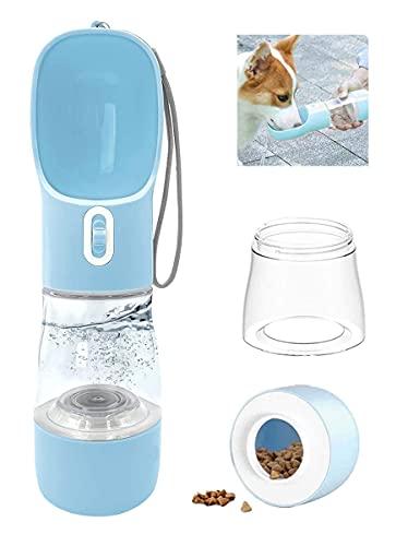 RoserRose Botella para Perros, 458ml 2 en 1 Botella Agua Perro, Bebedero Portatil Perro de Antibacteriano, a Prueba de Fugas, Libre de BPA, Taza para Beber para Mascotas al Aire Libre (azul)