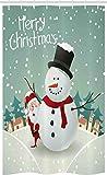 ABAKUHAUS Navidad Cortina para baño, Tema de Navidad de Invierno, Tela con Estampa Digital Apta Lavadora Incluye Ganchos, 120 x 180 cm, Almendra Verde cáscara de Huevo