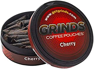 Grinds Coffee Pouches   3 Cans of Cherry   Tobacco Free, Nicotine Free Healthy Alternative   18 Pouches Per Can   1 Pouch ...