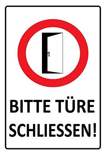 Metalen bordje Gelieve deur sluiten - waarschuwingsbord tin Sign 20x30cm