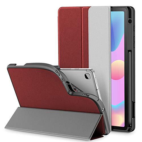 INFILAND Custodia Cover per Samsung Galaxy Tab S6 Lite 10,4 2020, Tri-Fold TPU Cover con Portapenne per Samsung Galaxy Tab S6 Lite 10,4 Pollice (P610/P615) 2020,Vino Rosso