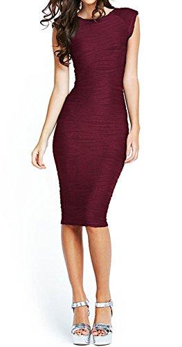 Taydey Women's Midi Dresses Sleeveless Knee Length Party Evening Dress, Medium, Burgundy