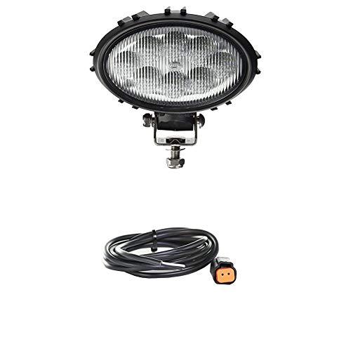Hella 1GA 996 661-501 Arbeitsscheinwerfer - Oval 100 Thermo Pro - LED - 12V/24V - 1700lm - Anbau - Nahfeldausleuchtung + Kabelsatz, Arbeitsscheinwerfer, 2.000 mm Leitung mit Deutsch-Stecker, Schwarz