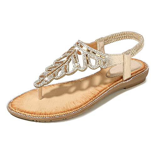 QLIGHA Sandalias Abalorios con Delicadas Hojas Y Diamantes De Imitación Peep Toe Zapatos Playa Clip Toe Zapatos Romanos Adulto