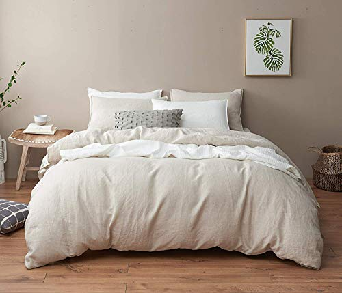 DAPU Pure Linen Duvet Cover Stone Washed European Flax (King, Natural Linen, Duvet Cover and 2 Pillowcases)