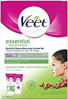Veet ansikte hårborttagning-kräm-set för känslig hud med aloe vera och vitamin E, 2-pack (2 x 50 ml)