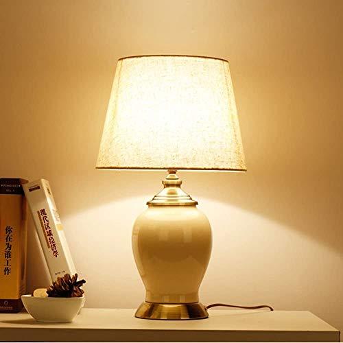 Amerikanische Tischlampe Schlafzimmerlampe Bett Scheinwerfer Einfache Moderne Studierende Schreibtischlampe Europäische Keramiklampe E27,Ddimmable Switch