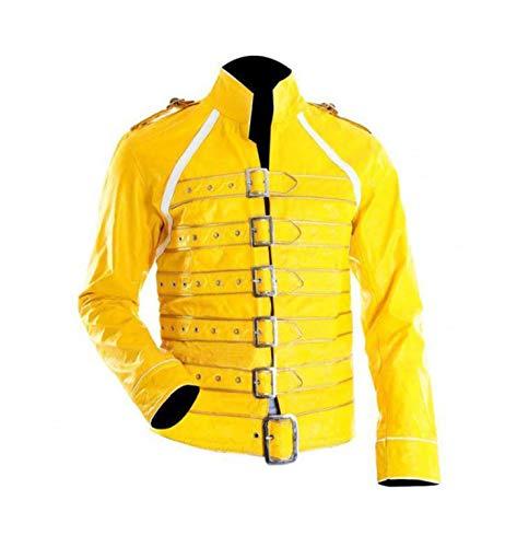 Hwear Freddie Mercury Ultimate Collection - Chaqueta de piel para hombre Amarillo amarillo M