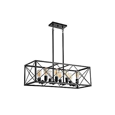 Jinzo Rectangle Chandelier Island Lighting 8-Lights Farmhouse High Linear Industrial Dining Room Chandelier with Rustic Metallic Open Frame Matte Black