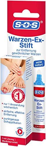 SOS Warzen-Ex Stift, zur Entfernung gewöhnlicher Warzen, sofort wirkender Warzenstift, Warzenmittel mit einfacher und präziser Stiftapplikation, effektiv ab der 1. Anwendung, 1 ml Lösung