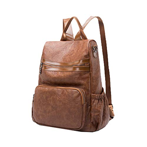 Star Leather Backpack with Korean Version of Casual Fashion Oil Wax Leather Backpack Ladies Campus Retro Bag Backpack Handbag Brown Size: One Size