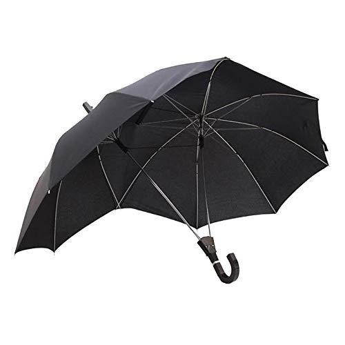 piaceto Neuheit automatische offene zwei personen regenschirm sonnenschirm liebhaber paare regenschirm zwei kopf doppel stange regenschirm - Schwarz