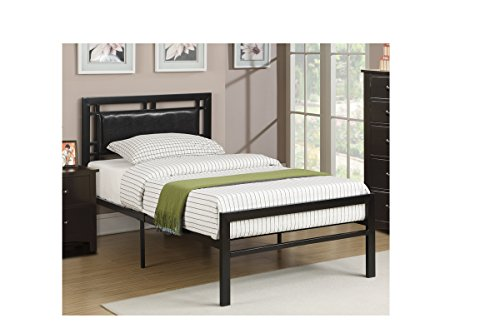poundex Twin Bed with Black Faux leather Accent on Heaboard