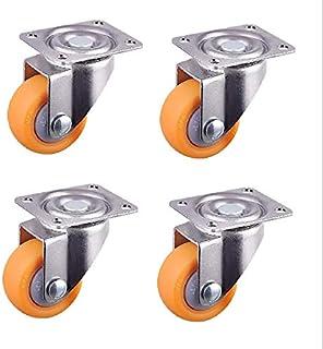 Orange Nylon All Swivel Caster Wheels Plate Castor For Trolleys 25Mm, 13Kg, 4Pcs Set