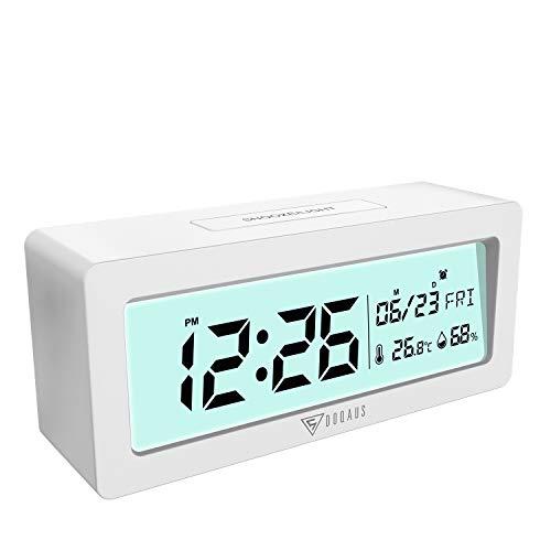 DOQAUS Wecker Digital, Digitaler Wecker mit Thermo-Hygrometer und Datum, Hintergrundbeleuchtung Großer LCD-Bildschirm, 12/24 Std Umschaltbar Alarm Clock Perfekt für das Schlafzimmer (Weiß)