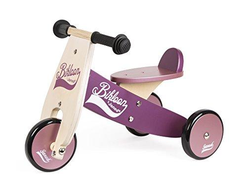 Janod J03260 Cavalcabile Little Bikloon Bicicletta, Legno, Viola/Rosa