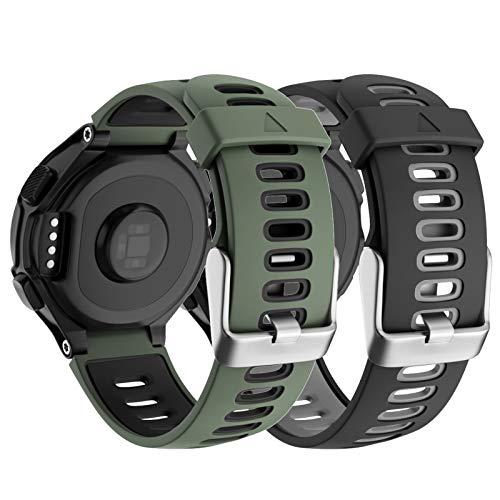 Isabake Correa de reloj para Garmin Forerunner 735XT 235 235Lite 230 220 620 630, correa de repuesto de silicona suave para accesorios de reloj Approach S20 S5 S6 (negro/verde militar)