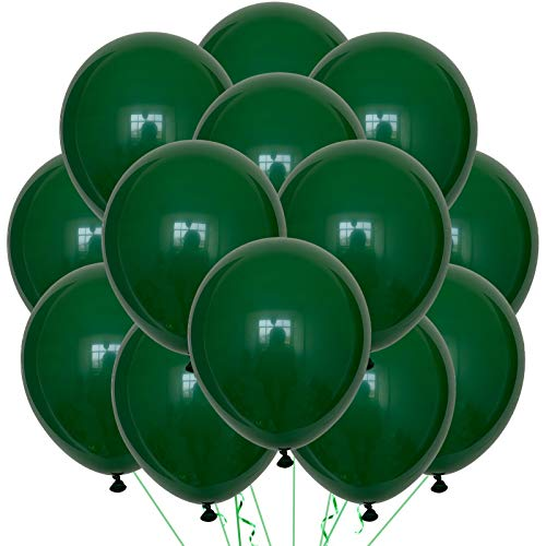 Green Balloons Latex Party Balloons - 100 Pack 12 inch Round Helium Balloons for Dark Green Themed Wedding Graduation Anniversary Birthday Party Backdrop Decorations