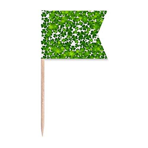 Cuatro hojas de Irlanda del día de San Patricio, banderas de palillo de dientes de etiquetado para fiesta pastel comida plato de queso