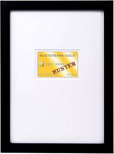 Bilderrahmen DIN A4 für Gutscheinkarte, Geschenkkarte, Kreditkarte, MDF-Rahmen, mit Passepartout